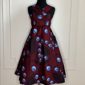 Vintage Ankara Burgundy and Blue Summer Dress